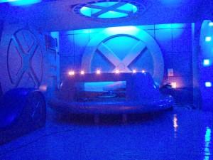 The bedroom in the X Men Suite